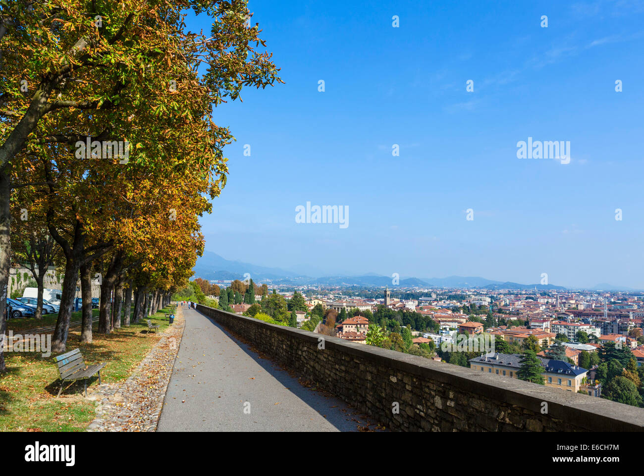 View over Bergamo Bassa from the path along the walls around Bergamo Alta, Lombardy, Italy Stock Photo