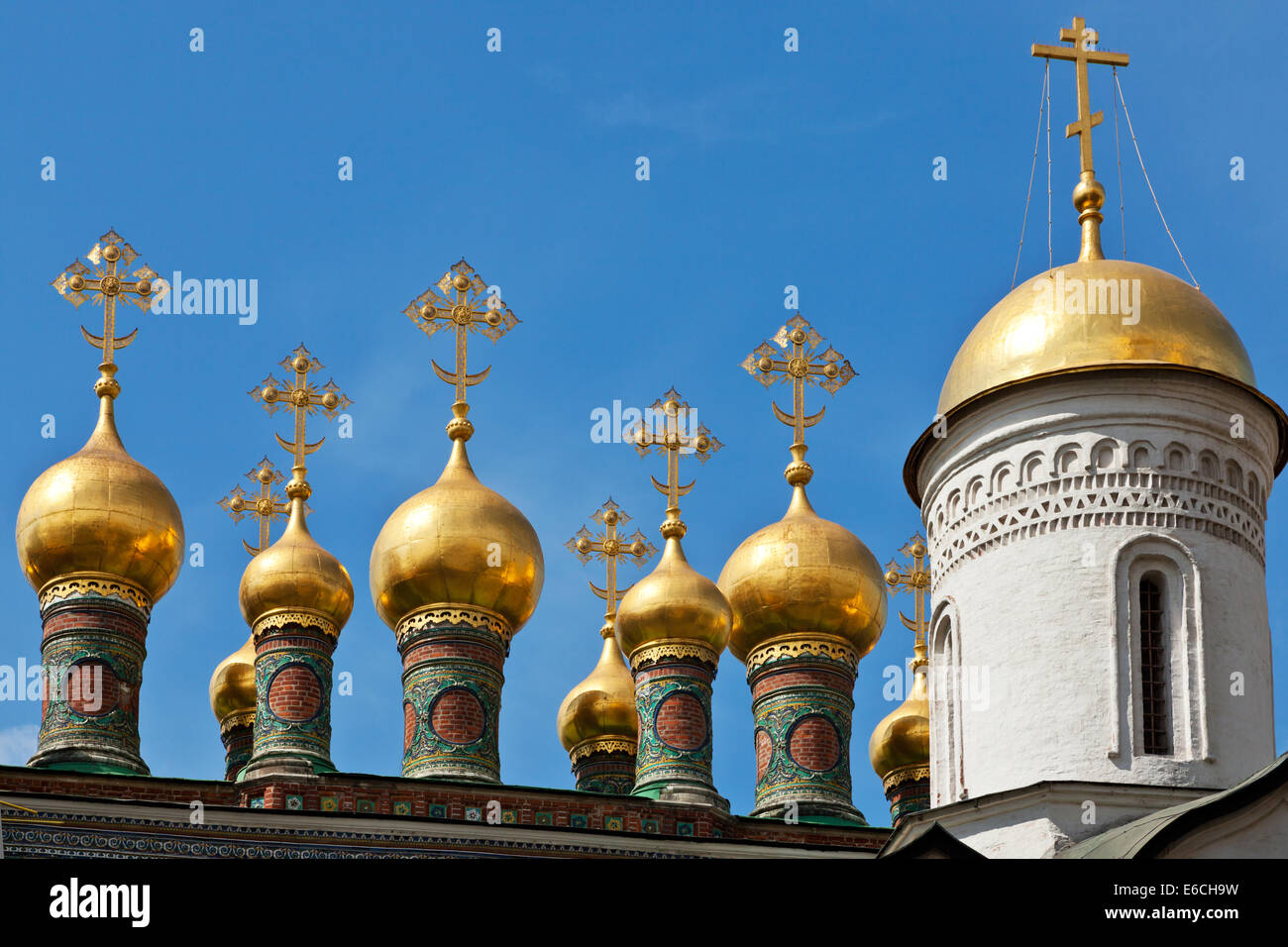 Cupolas of the Terem Palace Church, Moscow Kremlin, Russia - Stock Image