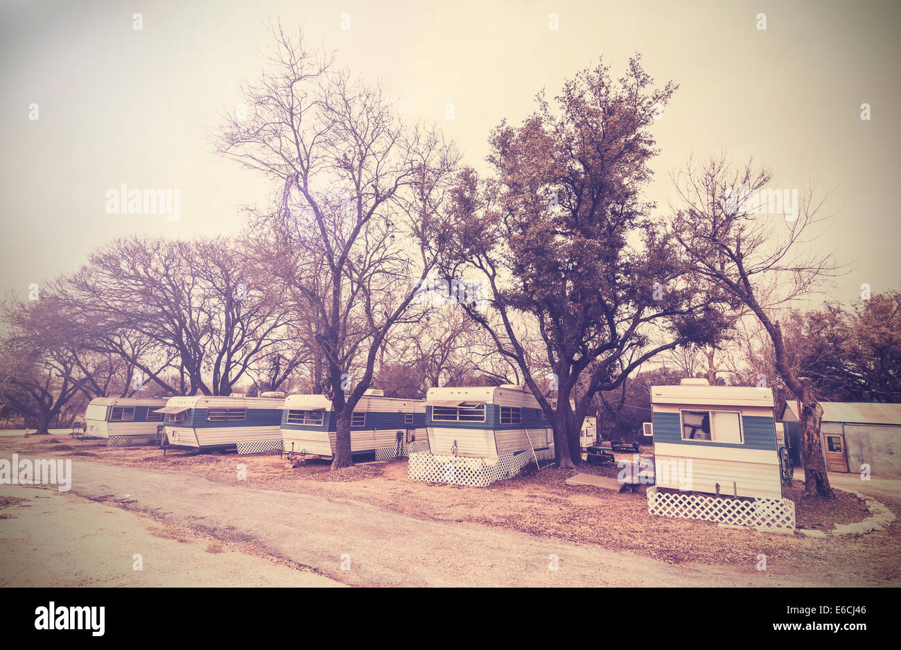 Vintage picture of american house trailers estate, USA countryside. Stock Photo
