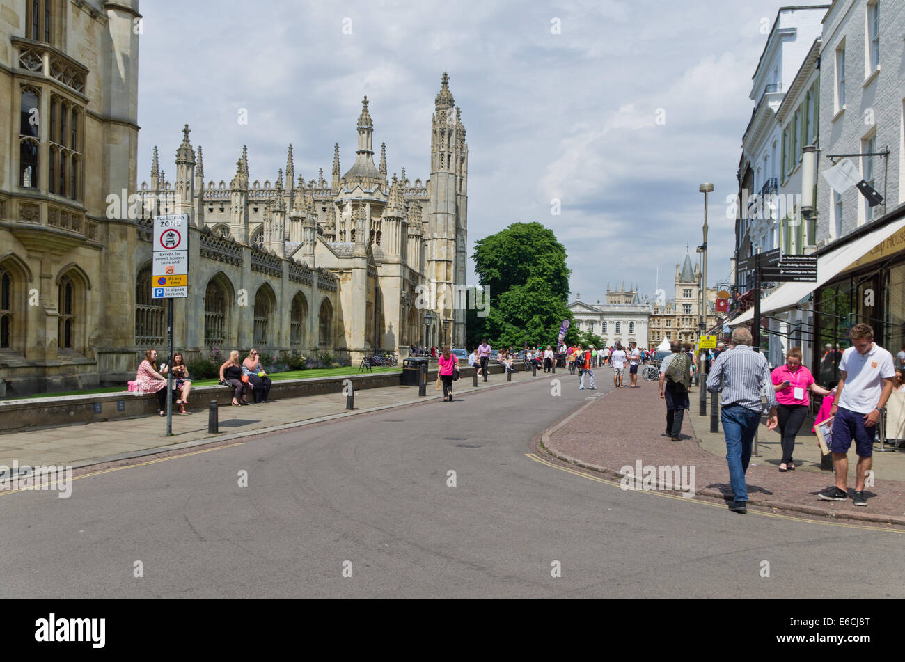 The view down Kings Parade, Cambridge on a warm Summer afternoon; King's College is on the right hand side. - Stock Image