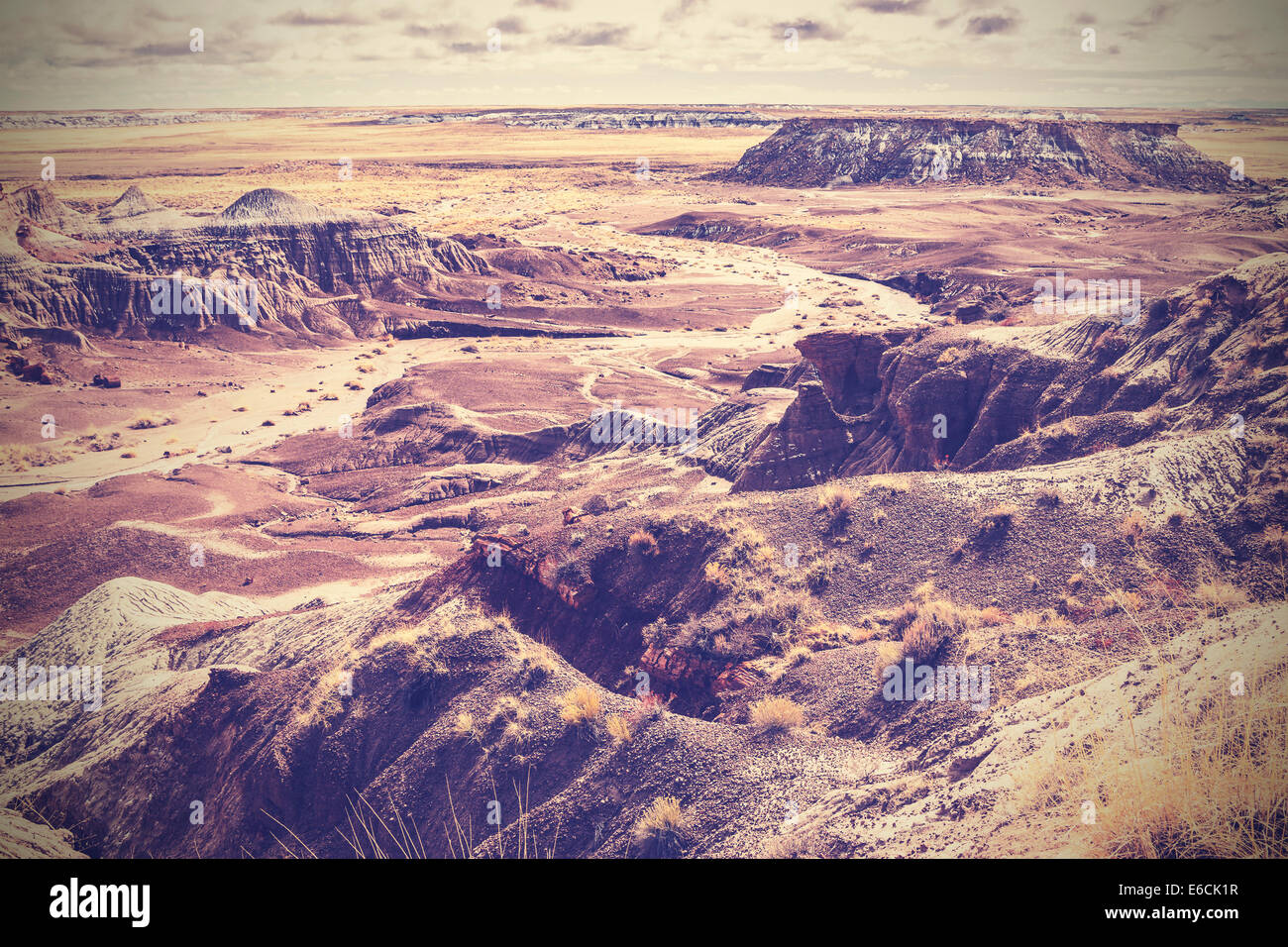 Vintage picture of Painted Desert, Petrified Forest National Park, Arizona, USA - Stock Image