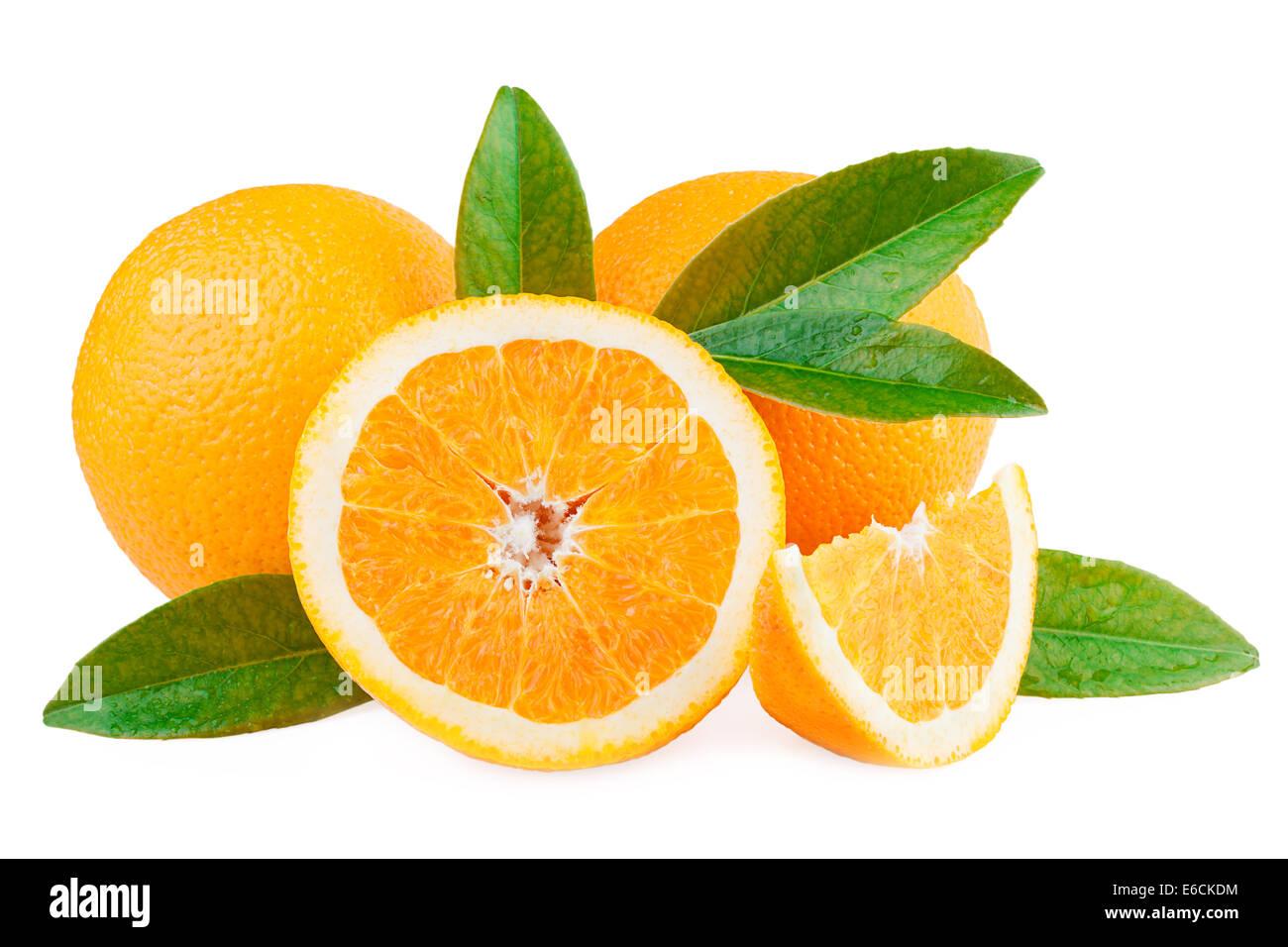 Oranges Fruits over white - Stock Image