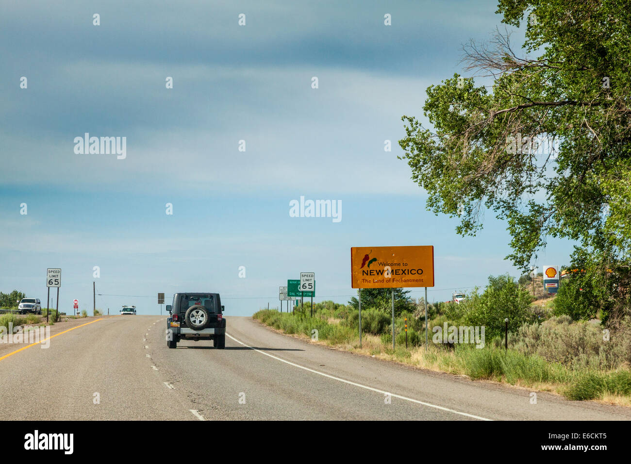 Welcome to New Mexico sign on US 550 highway Stock Photo