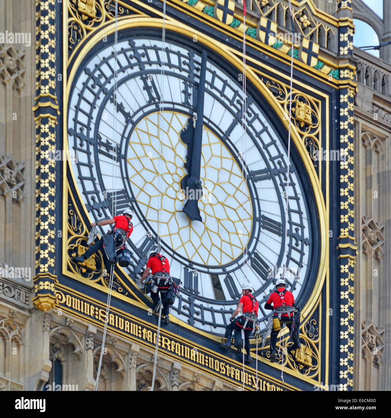 Big Ben Elizabeth Tower clock face being cleaned with hands set to wrong time of 12 noon or midnight - Stock Image