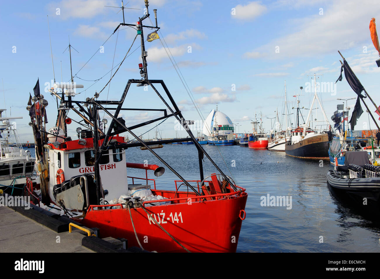 fishing boats in the port of hel poland europe stock photo