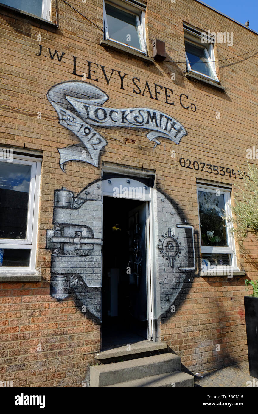 J.W. LEVY SAFE Co. LOCKSMITH in Shoreditch, London - Stock Image
