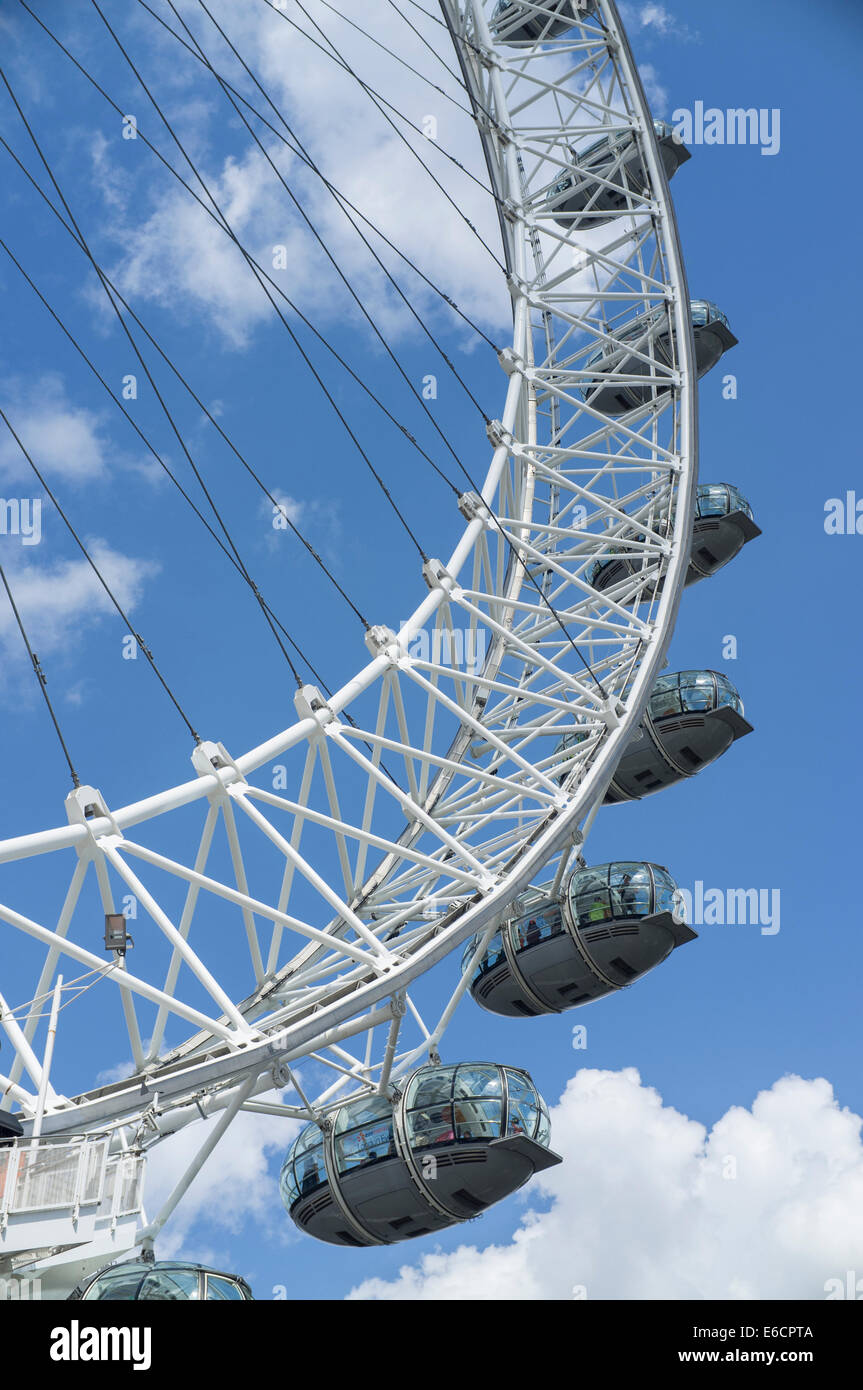 London, UK. Detailed image of the passengers pods on the London Eye Stock Photo
