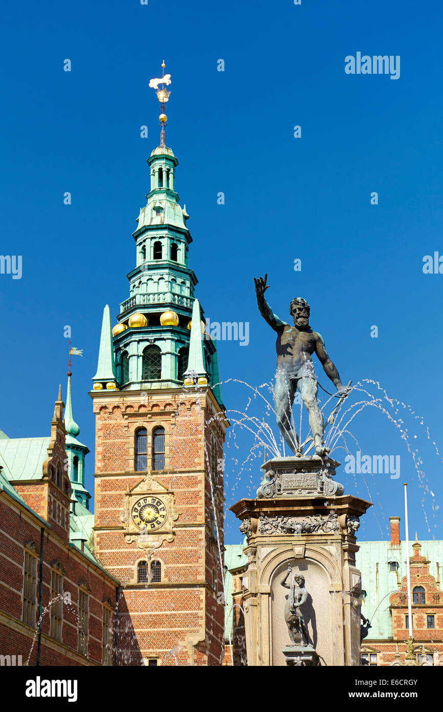 Neptune Fountain at Frederiksborg Palace, Denmark - Stock Image