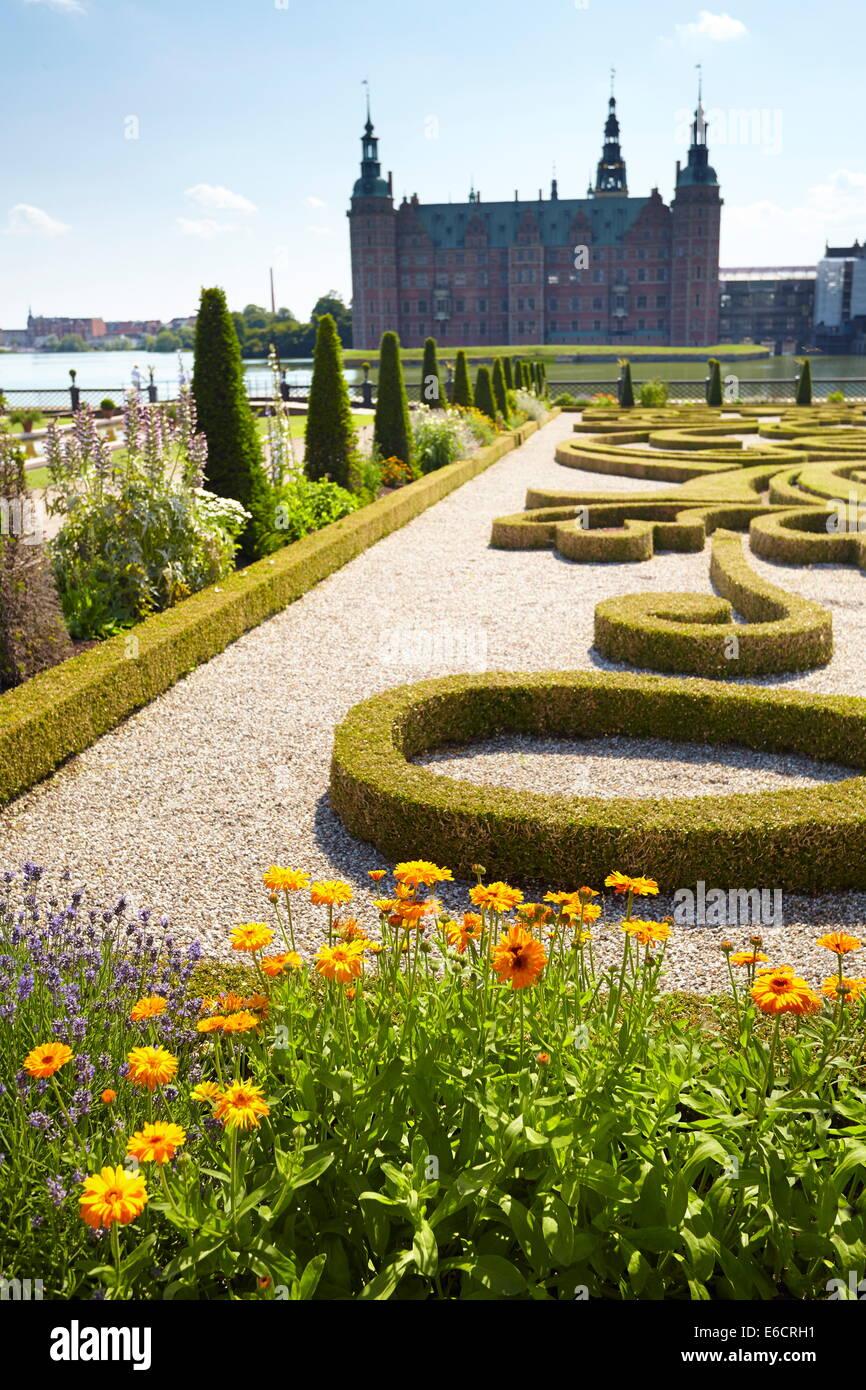 The baroque garden at Frederiksborg Castle, Denmark - Stock Image