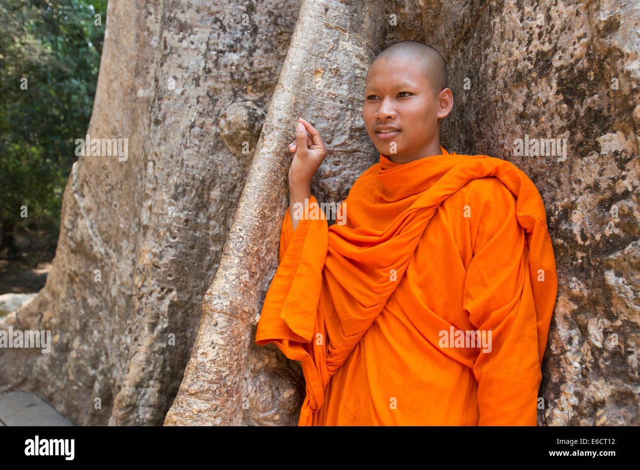 Cambodian monk in front of strangler fig tree at Ta Prohm temple in Angkor Stock Photo
