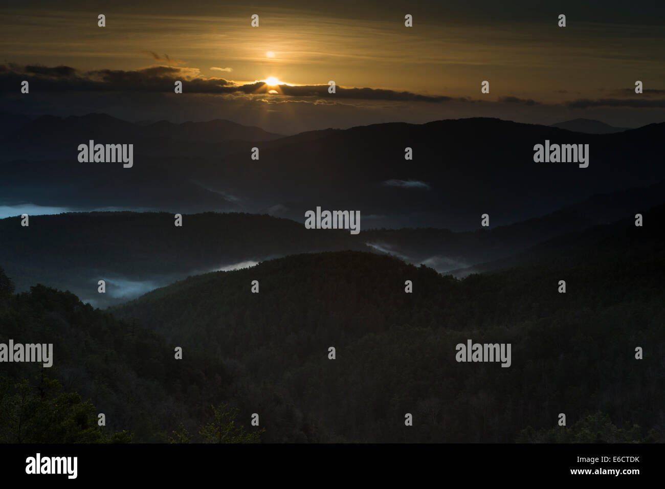Landscape view of sunrise and mist settled in valleys, Burgui, Spanish Pyrenees in March 2014. Stock Photo