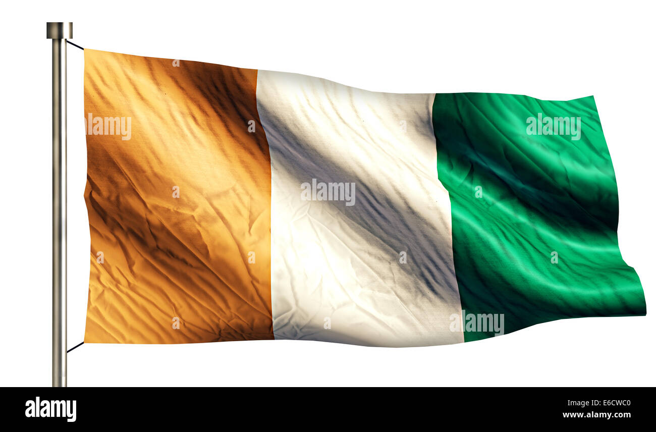 Cote D'Ivoire National Flag Isolated 3D White Background - Stock Image