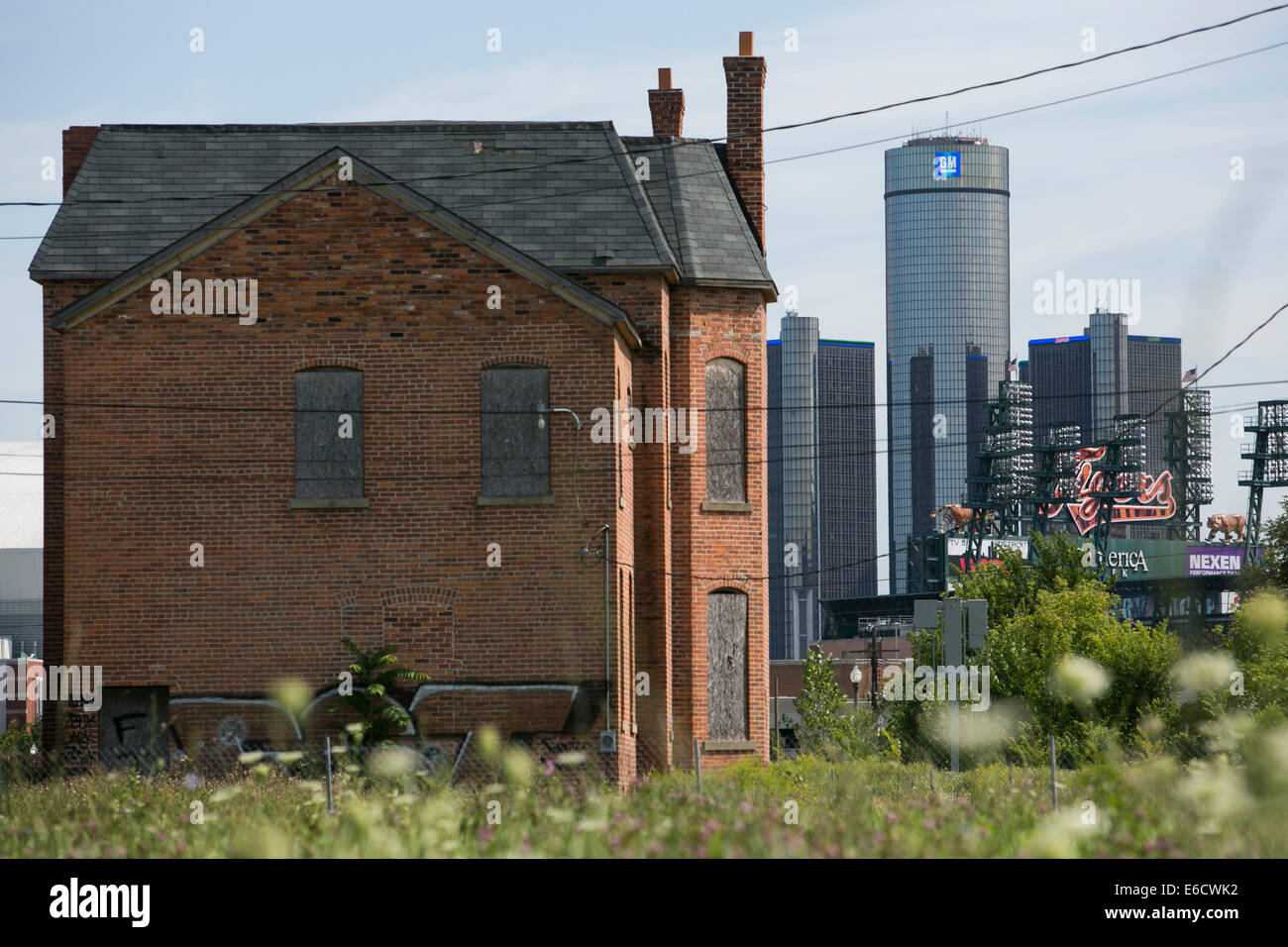 The Renaissance Center, headquarters of General Motors (GM) in Detroit, Michigan. - Stock Image