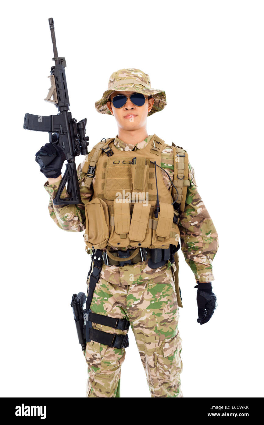 soldier with rifle or sniper  over  white background - Stock Image