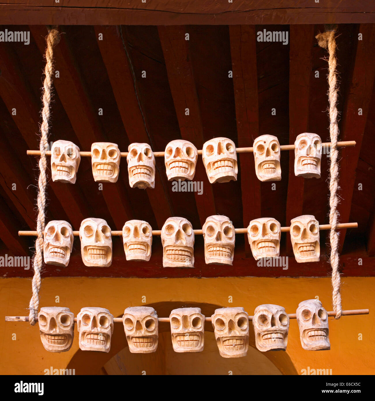 Wooden Skulls During Day Of The Dead Ceremonies Hang From The