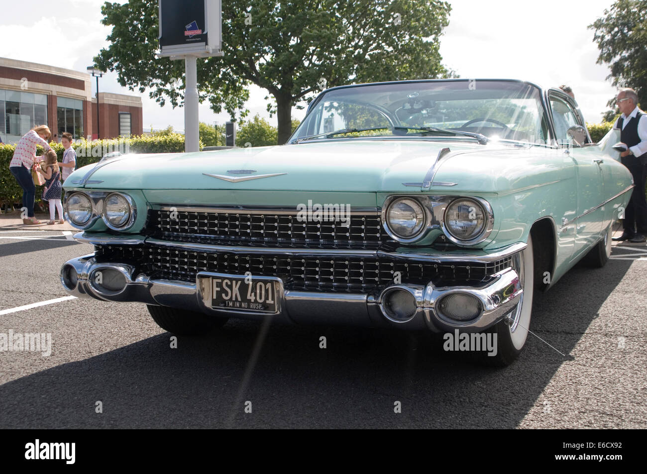 1959 cadillac caddy 59 50's fifties nineteen nineteenfifties car cars american us classic coupe de ville fin - Stock Image
