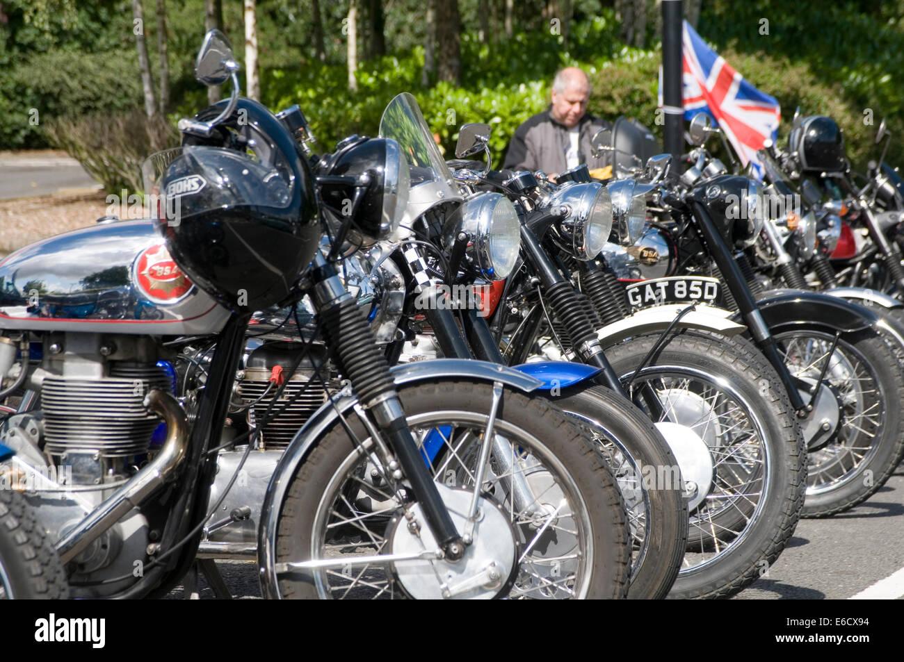 classic british motorbikes motorbike motor bike bikes old cycle cycles motorcycle motorcycles parallel twin engine - Stock Image