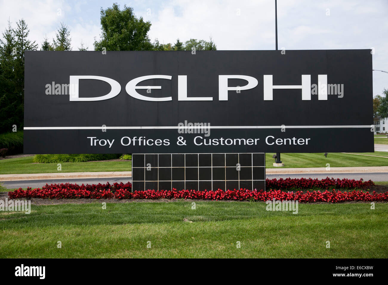 A facility occupied by auto parts maker Delphi Automotive in Troy, Michigan. Stock Photo