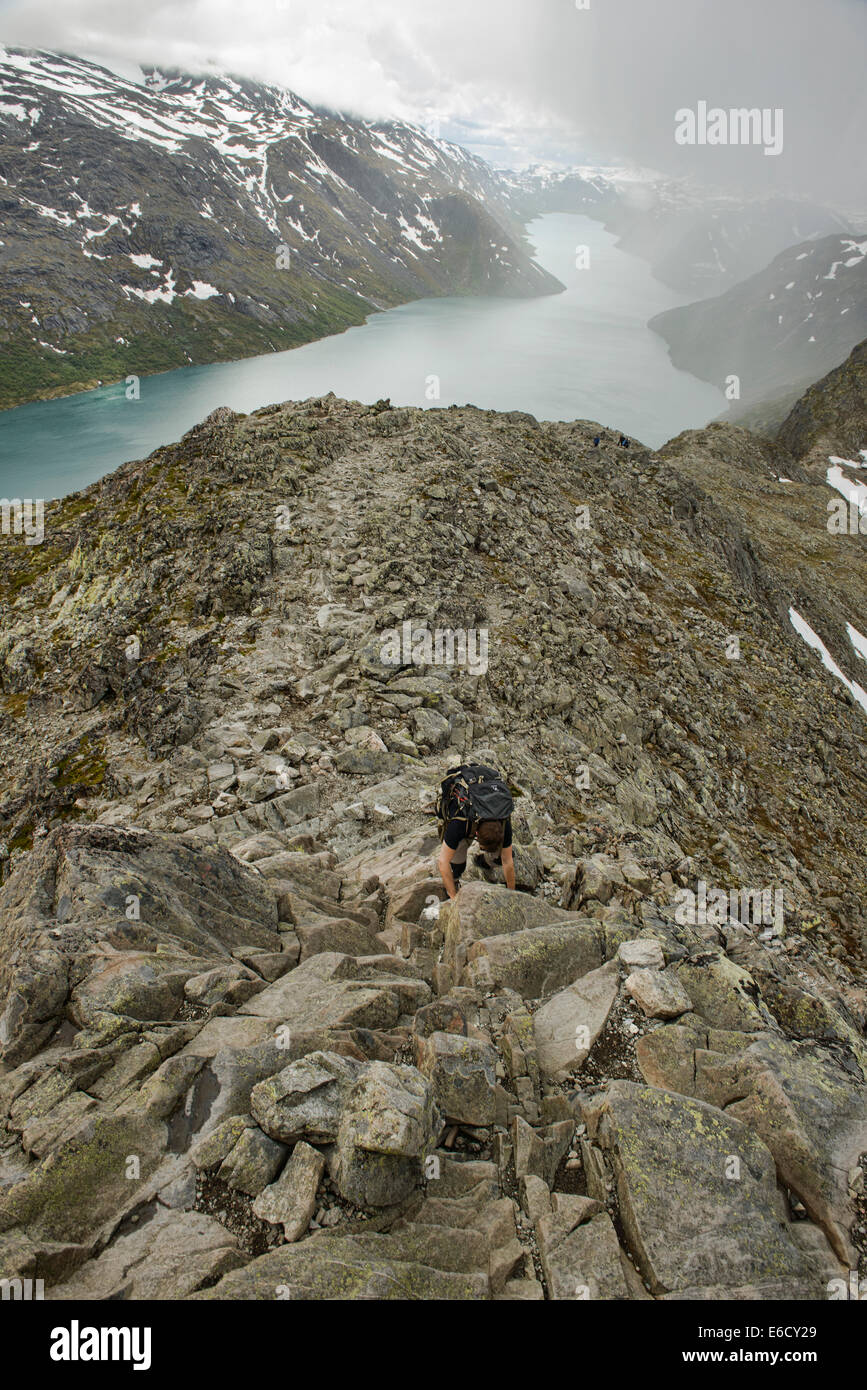climbing the Besseggen Ridge in Jotunheimen National Park, Norway - Stock Image