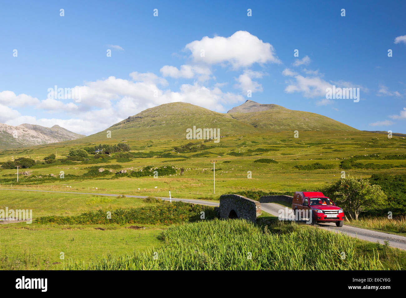 A post office car on the road below Ben More, a Munro on the Isle of Mull, Scotland, UK. - Stock Image