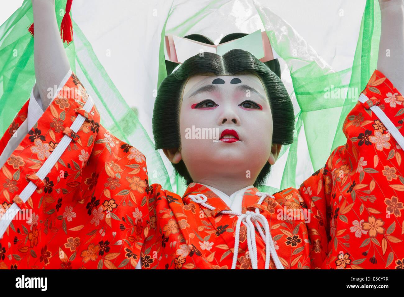 Child in costume in a Kabuki performance at Furukawa Festival, Hida-Furukawa, Japan. - Stock Image