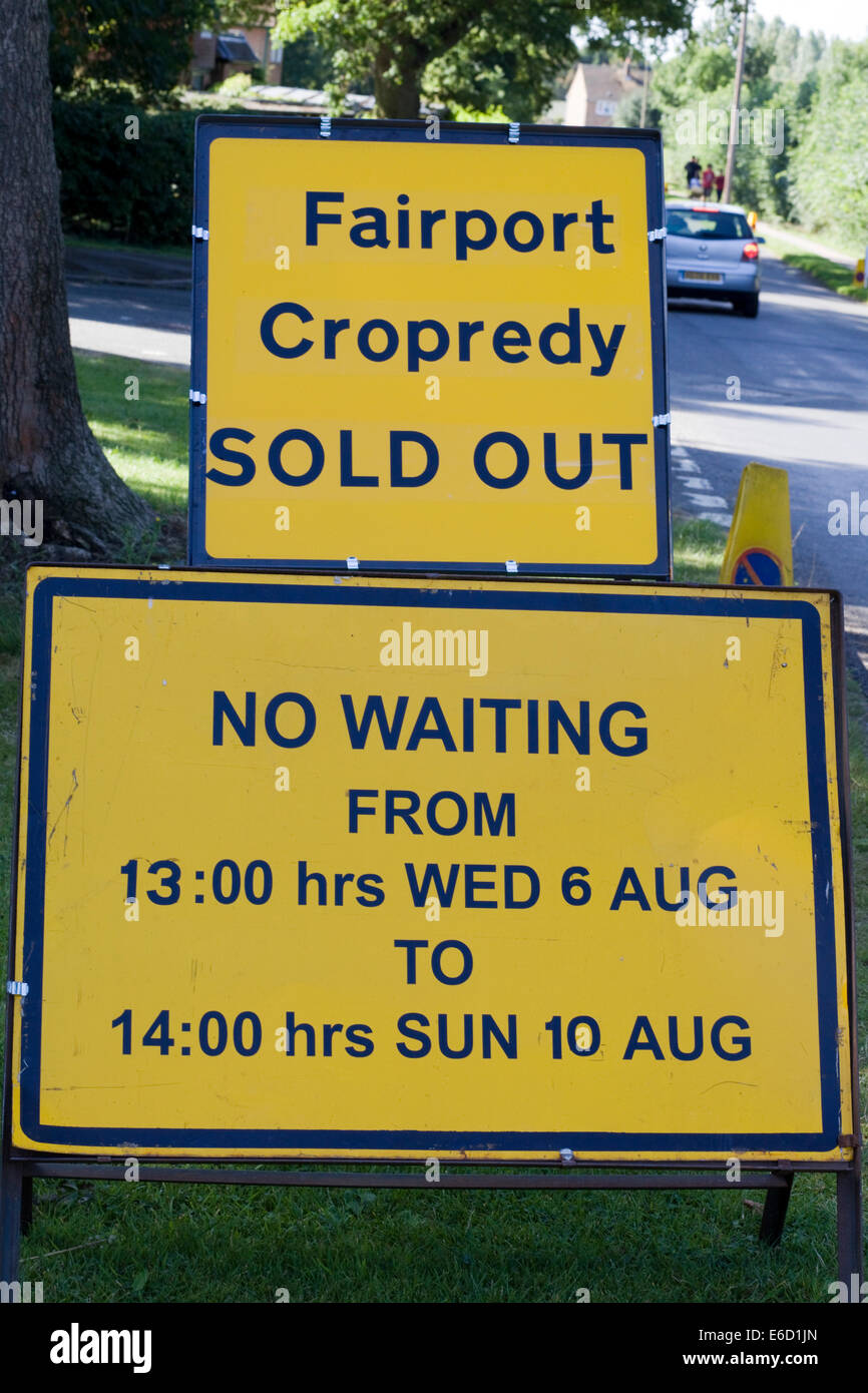 Sign informing the public that Fairport convention is Sold out and information for Drivers - Stock Image