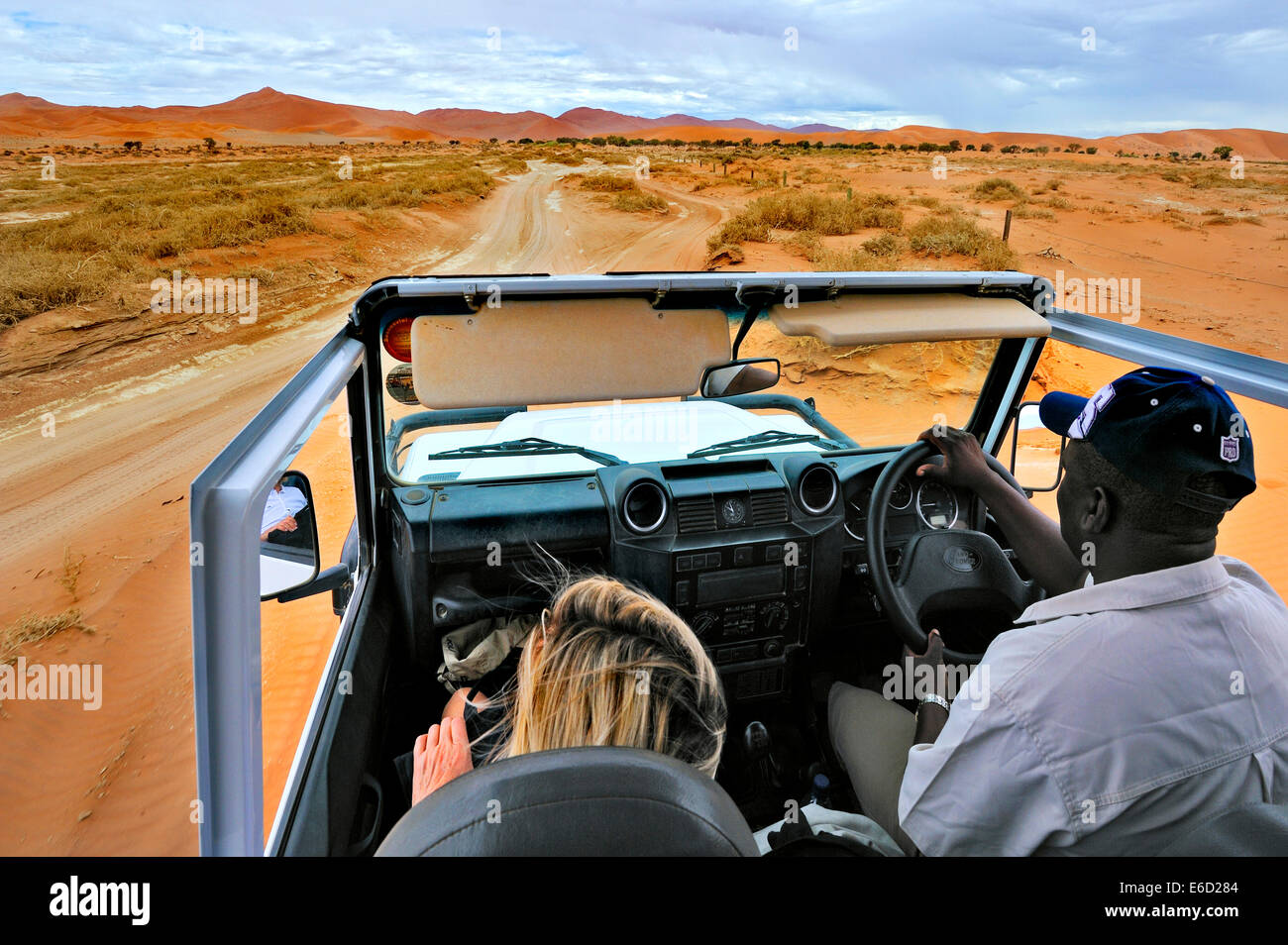 In Safari car on the dunes of the Sossusvlei, Namibia - Stock Image