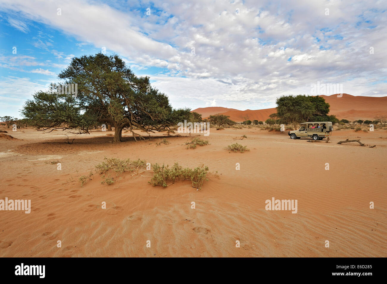 Landscape with Safari car on the dunes of the Sossusvlei, Namibia - Stock Image