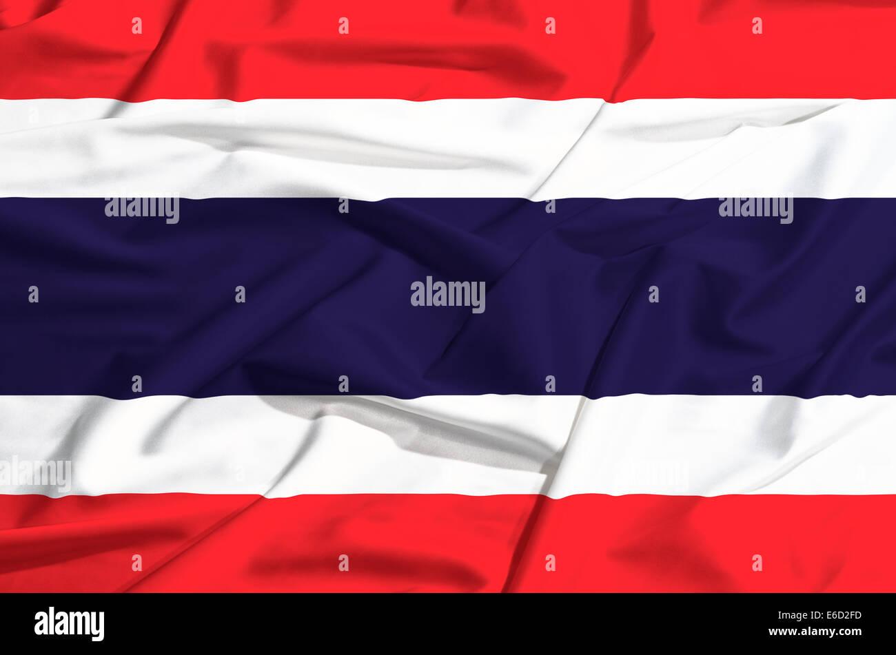 Thailand flag on a silk drape waving - Stock Image
