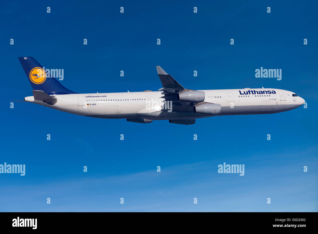 Lufthansa Airbus A330-343 in flight - Stock Image