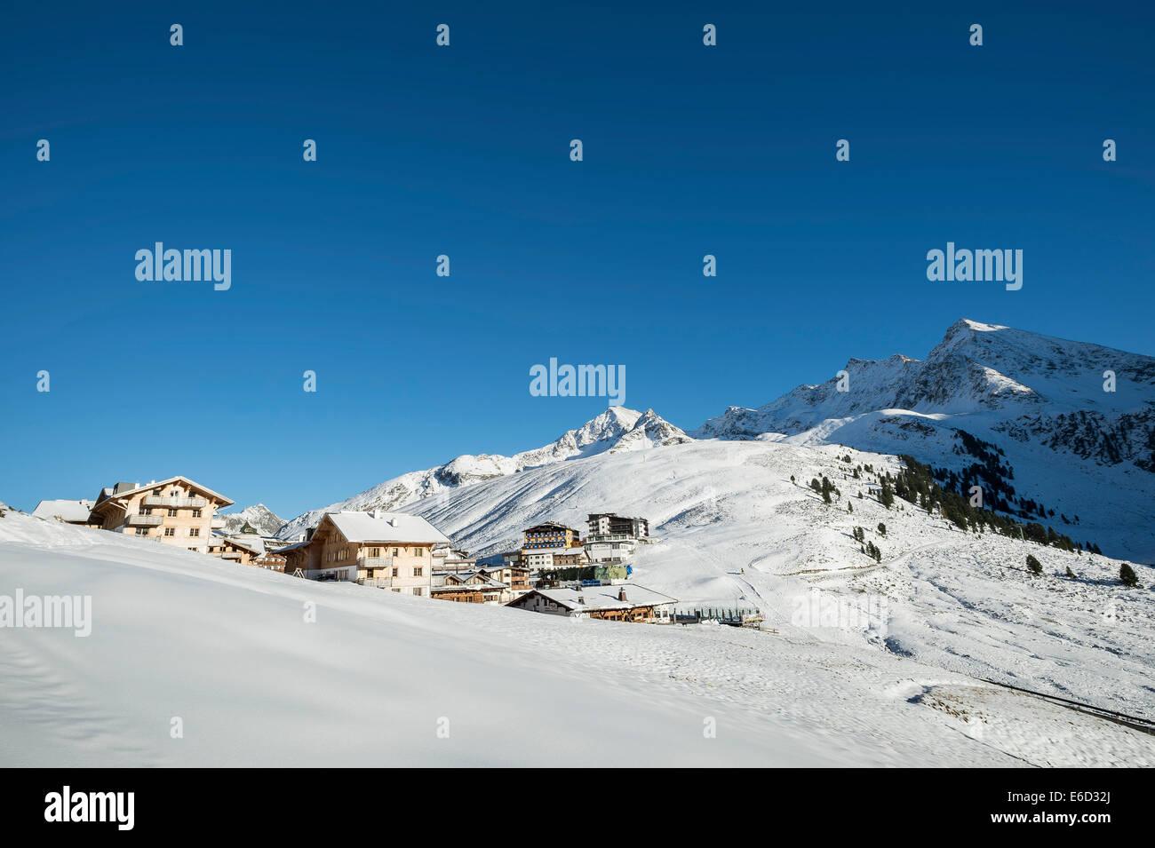 Mountain village of Kühtai, skiing area, Tyrol, Austria - Stock Image