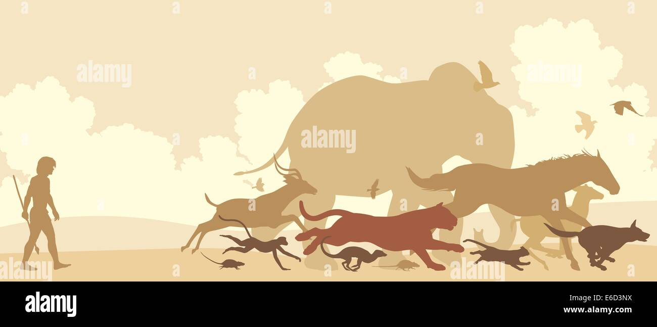 Editable vector silhouettes of diverse animals running away from an early man Stock Vector