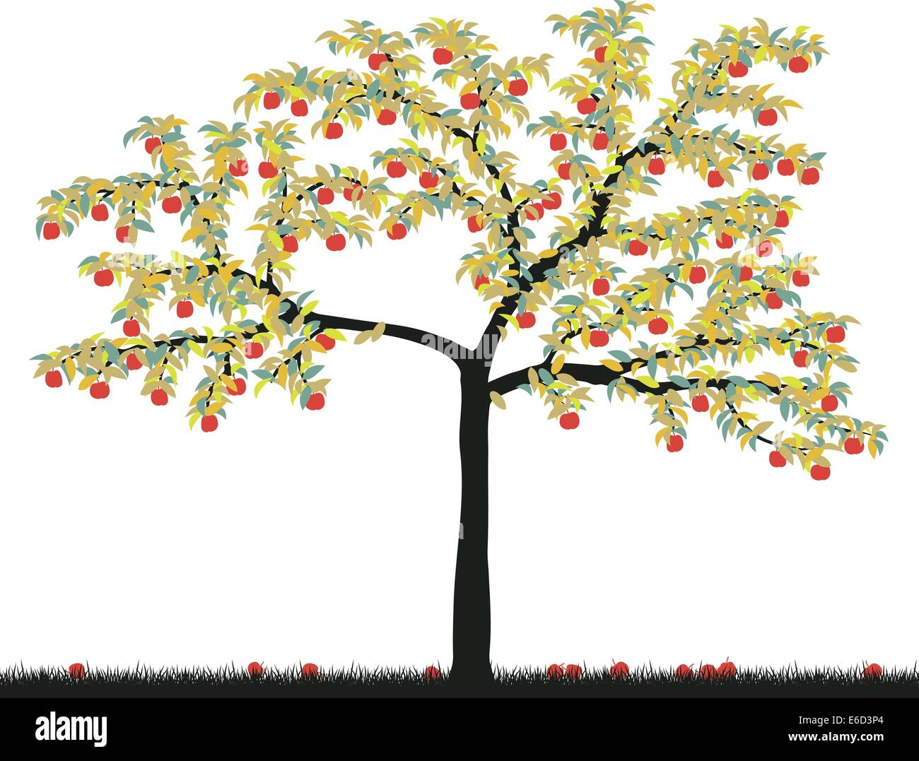 Editable vector illustration of a colorful apple tree - Stock Vector