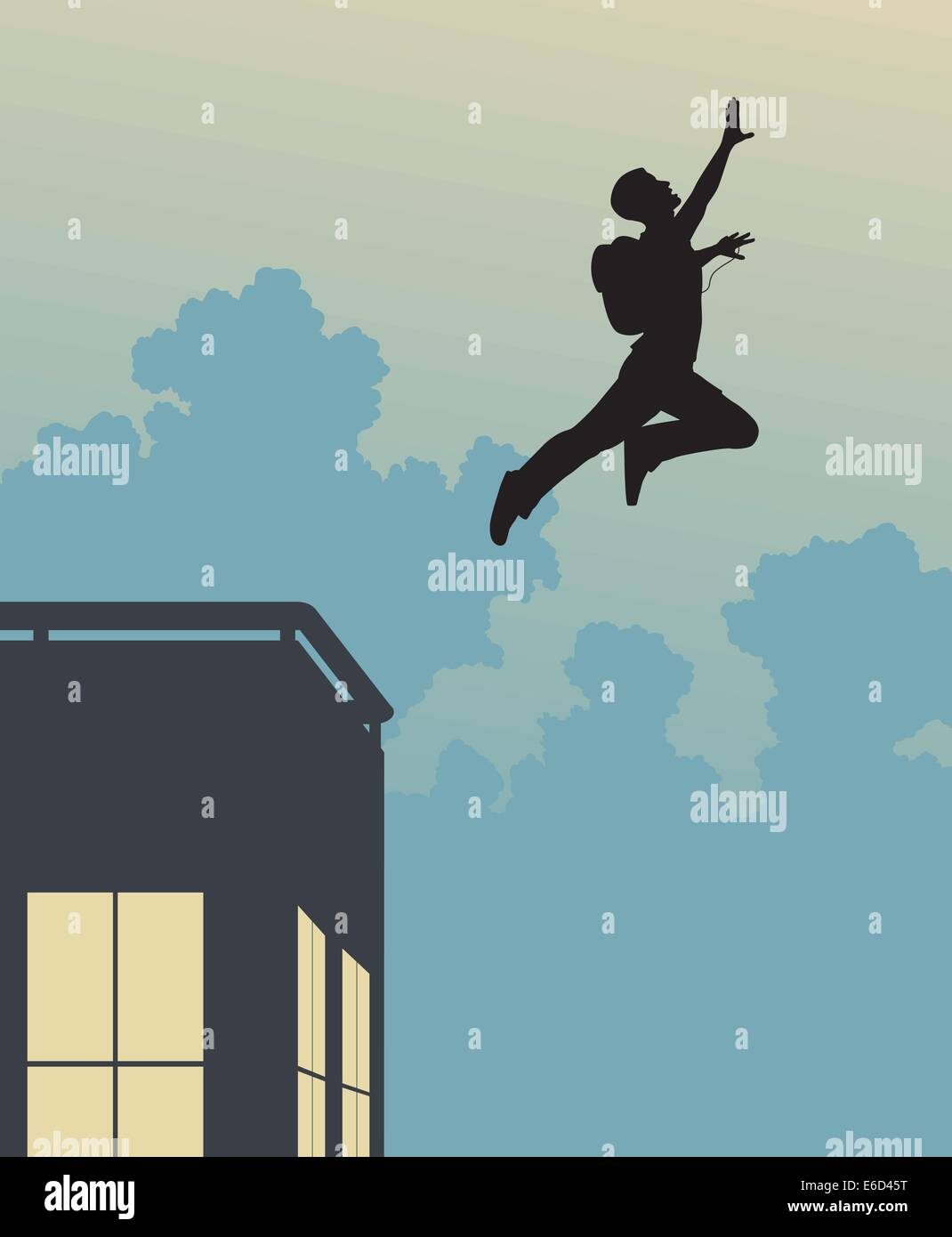 Editable vector silhouette of a base-jumper leaping off a building - Stock Image