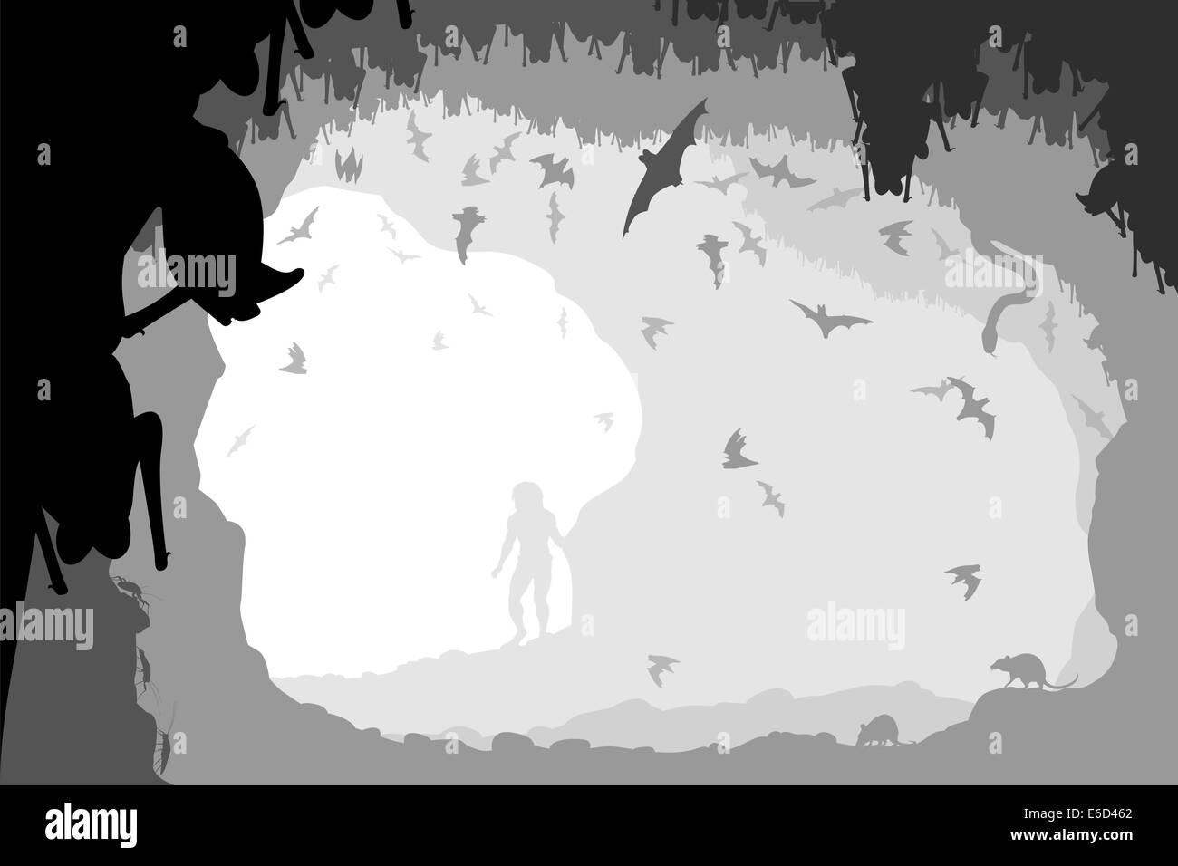 Editable vector illustration of a man at the mouth of a bat cave with all figures as separate objects - Stock Vector
