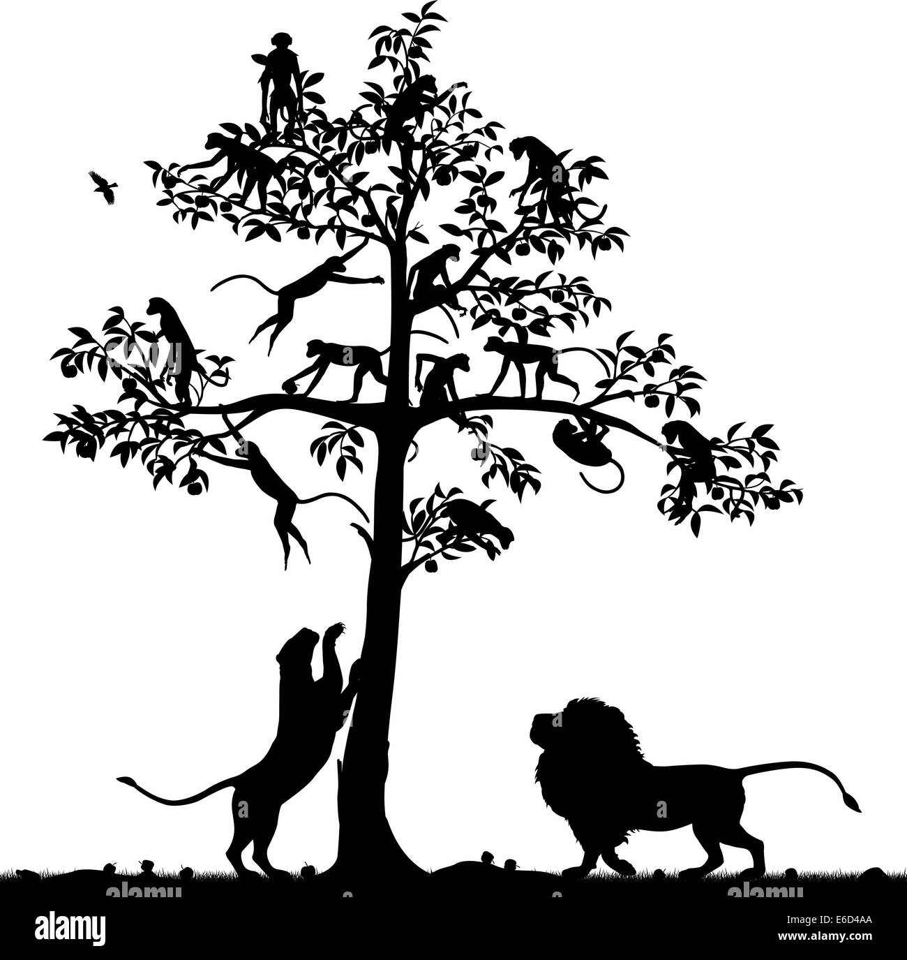 Editable vector silhouette of monkeys in a tree and a pair of lions below with all figures as separate objects - Stock Vector
