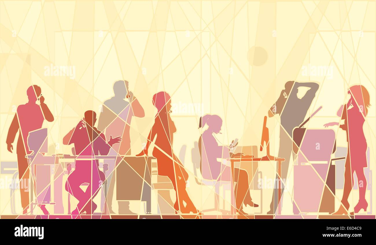 Editable vector colorful mosaic illustration of business people in an office all talking on cellphones - Stock Image