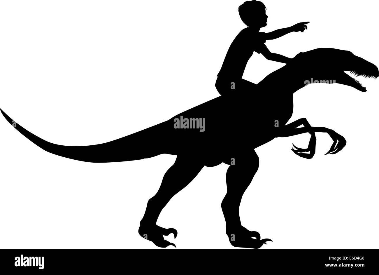 Editable vector silhouette of a boy riding a velociraptor with boy and dinosaur as separate objects - Stock Image