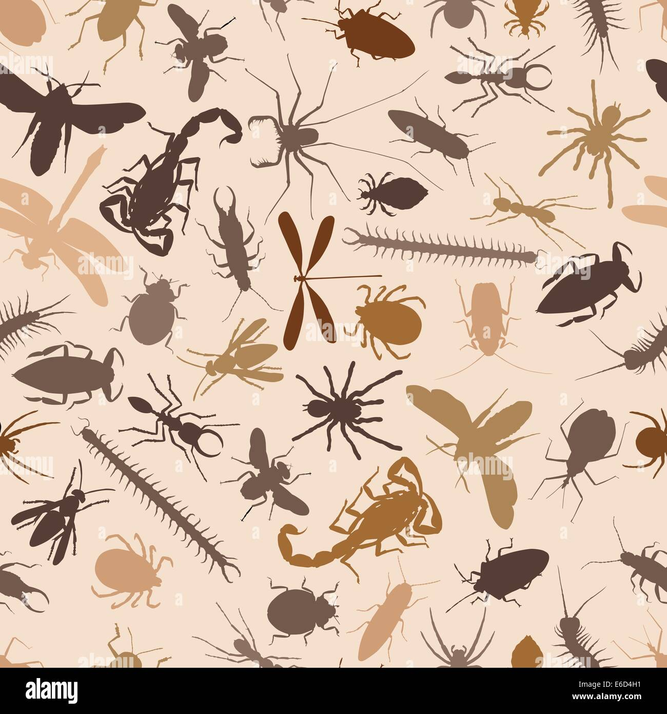 Editable vector seamless tile of various insects and other invertebrates - Stock Vector