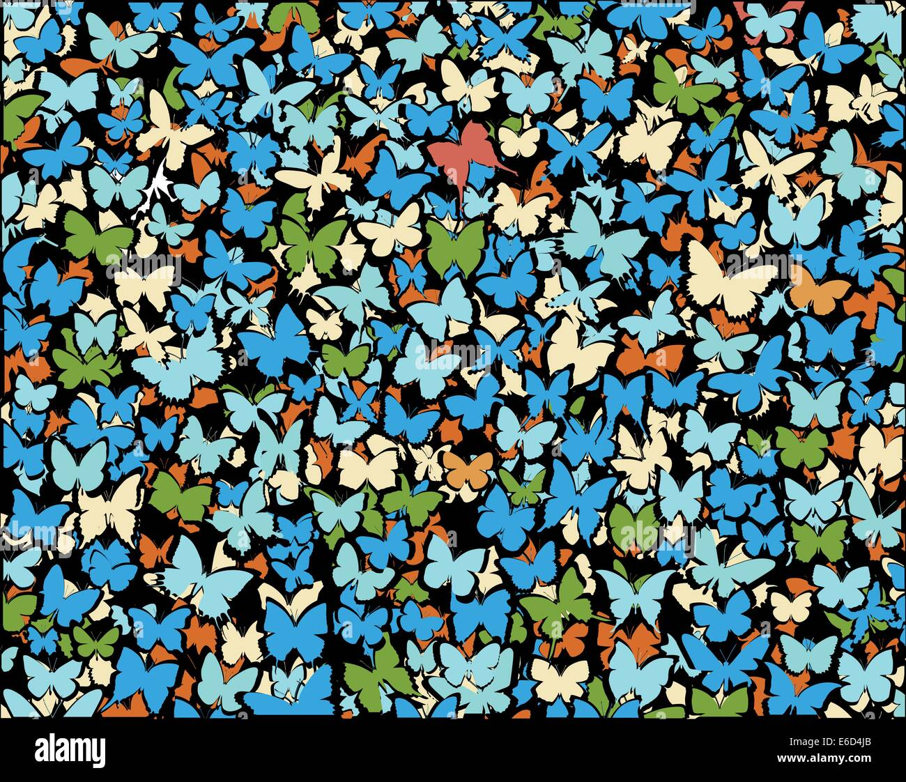 Background editable vector illustration of lots of butterflies - Stock Vector