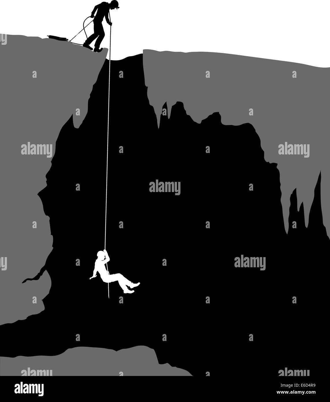 Editable vector illustration of cavers exploring a cave - Stock Vector