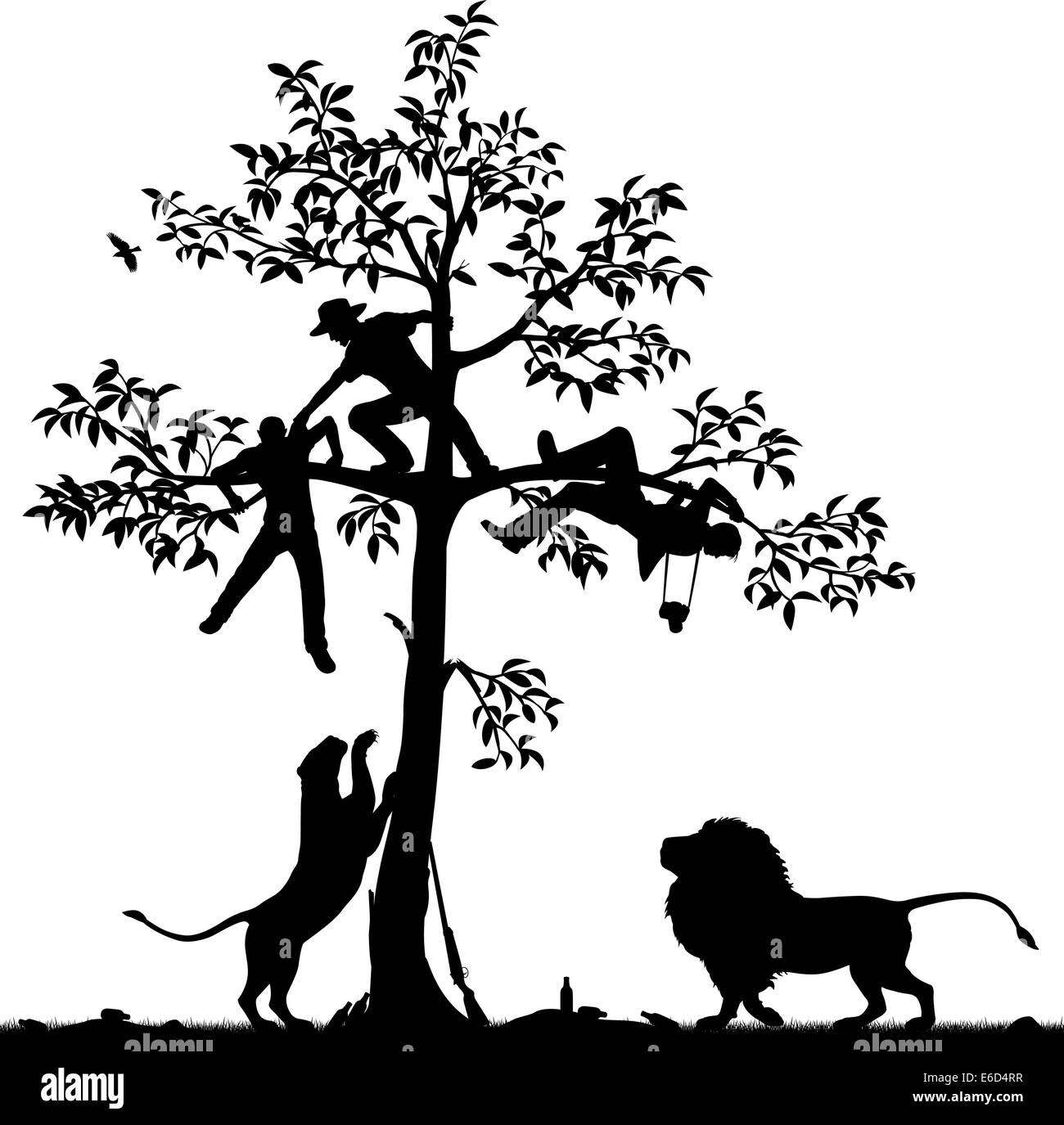 Editable vector silhouette of three men chased into a tree by a pair of lions with all figures as separate objects - Stock Vector