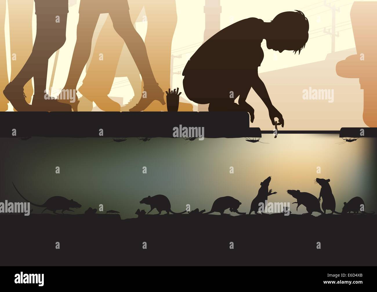 Editable vector illustration of a young boy feeding rats in a city sewer made using a gradient mesh - Stock Vector