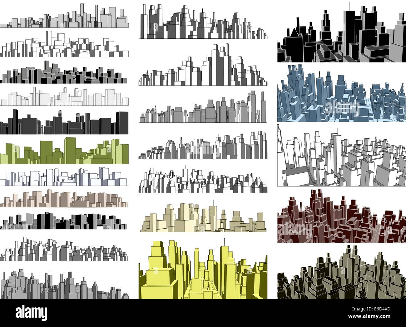 Set of editable vector simple 3-dimensional city skylines - Stock Image