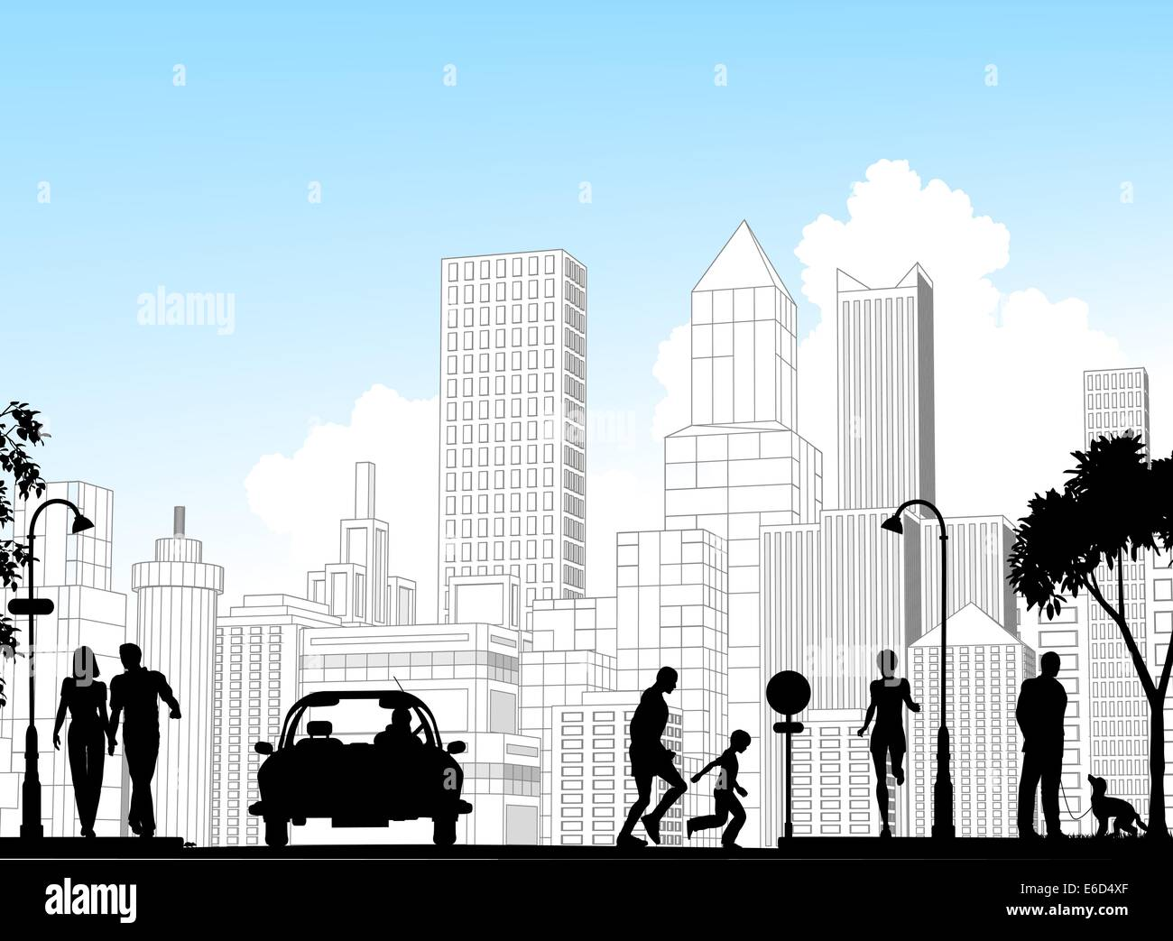 Editable vector silhouette of a busy street with city buildings as background; all silhouette elements as separate - Stock Vector