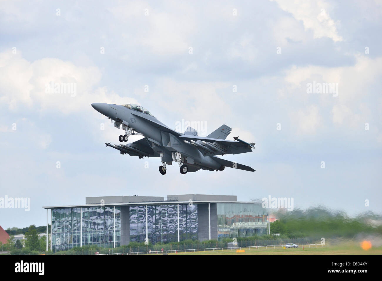 a A Eurofighter Typhoon takes off at Farnborough International Airshow. 2014 Stock Photo