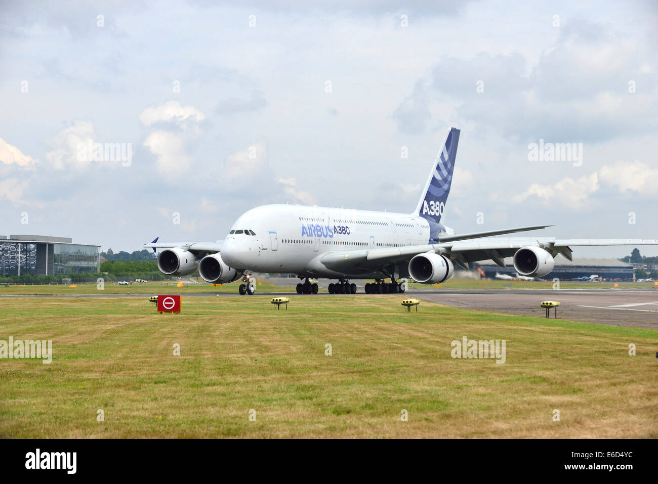Airbus 380 takes off or a flighing demonstration  at Farnborough International Airshow. 2014 - Stock Image