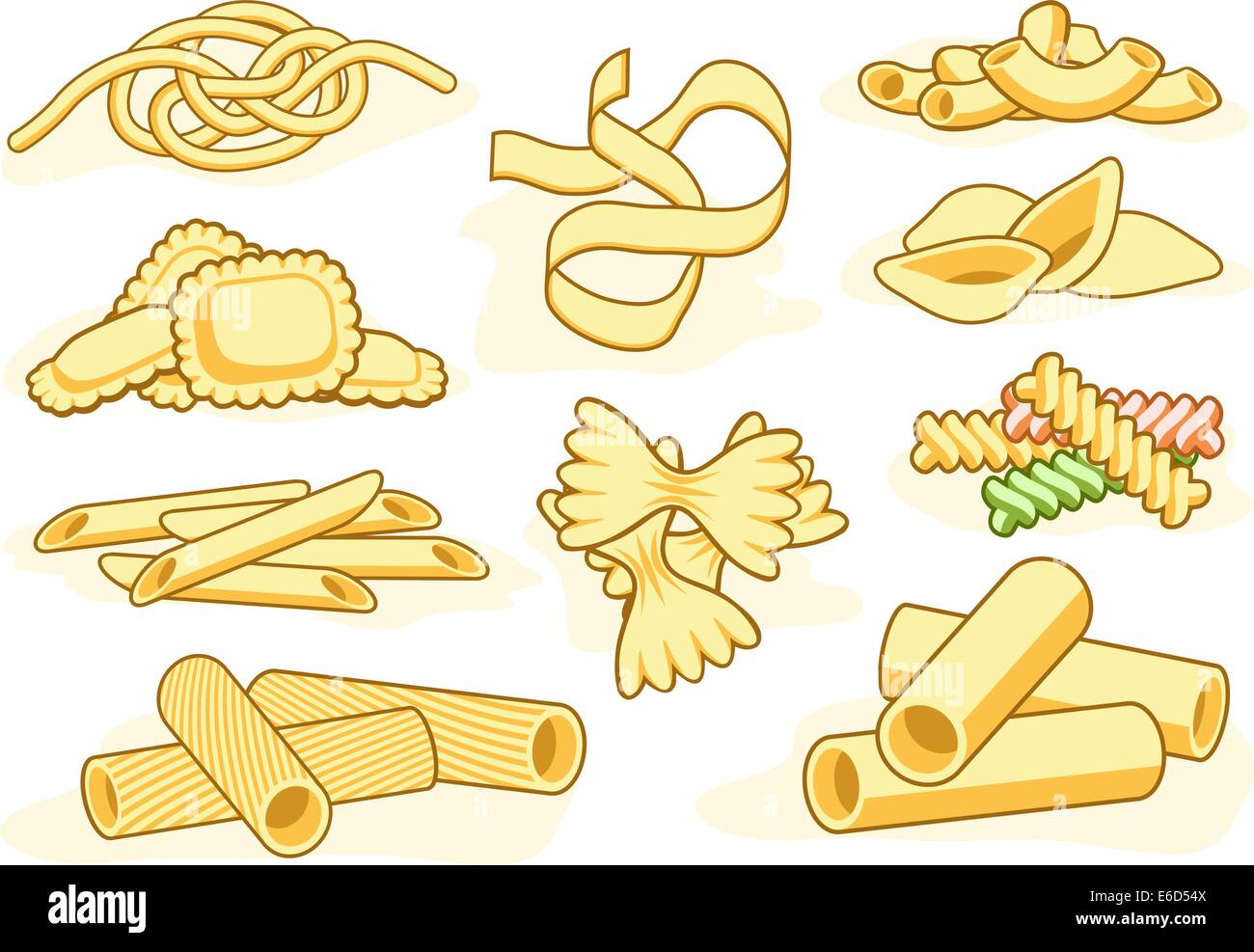 Set of editable vector icons of different pasta shapes Stock Vector