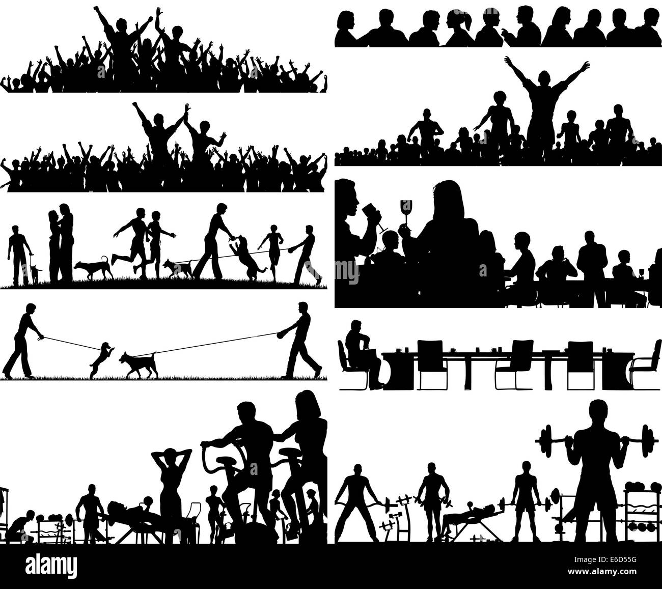 Set of editable vector people silhouettes as foregrounds Stock Vector