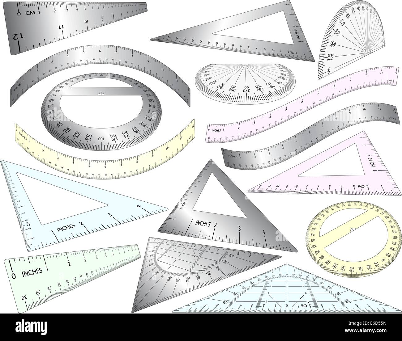 Set of angled and bent editable vector rulers, set squares and protractors in plastic and metal - Stock Vector